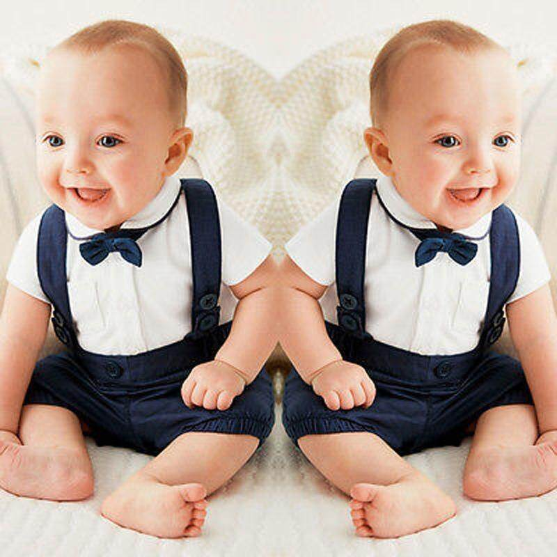 d33df4dfa Newborn Baby Boys Gentleman Tuxedo Formal Suit Bow Tie T-shirt Tops+Suspender  Trousers