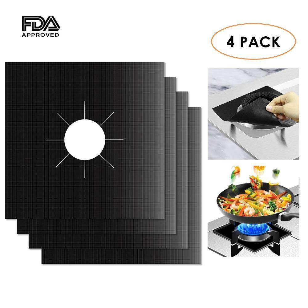 Fortunet Reusable Gas Range Protector Clean Mat, Multipack Stovetop Burner Liner Cover Pad 0.2mm, Non-Stick, Dishwasher Safe, Heat Resistant, Fda Approved - Intl By Fortunet.