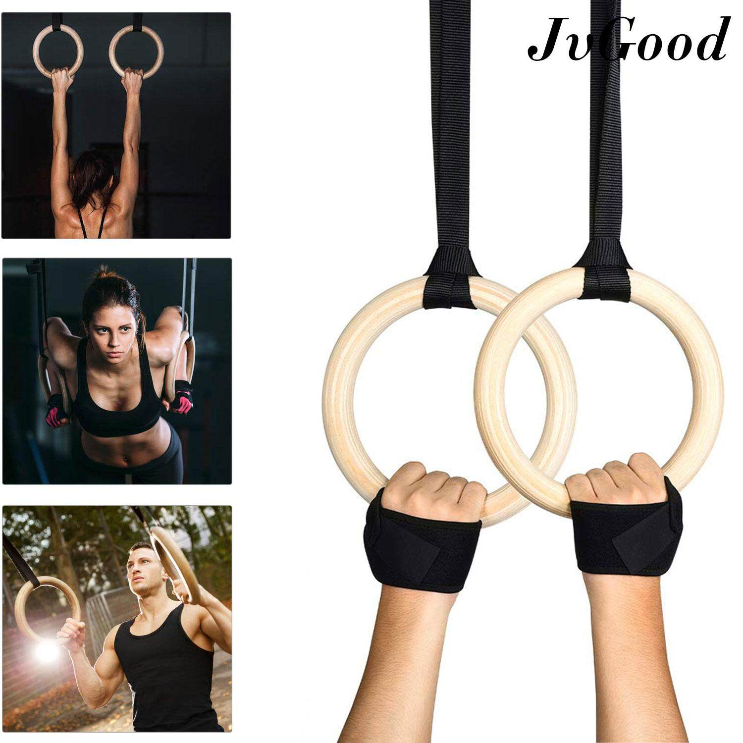 Jvgood ยิมนาสติกแหวนโ Wood Gymnastic Rings Olympic Rings 1pair Premium Heavy Duty Cross Training Wood Gymnastics Fitness Exercise Rings For Your Home Gym Exercise Rings Workout, Crossfit And Strength Training Ring Pull Up, Dips, Muscle Up, Ring Row By Jvgood.