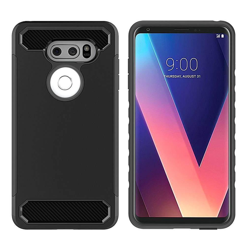 LG V30 Case, bulan Case Karbon Serat Ganda Lapisan Lapis Baja Hibrida Keras Buah +