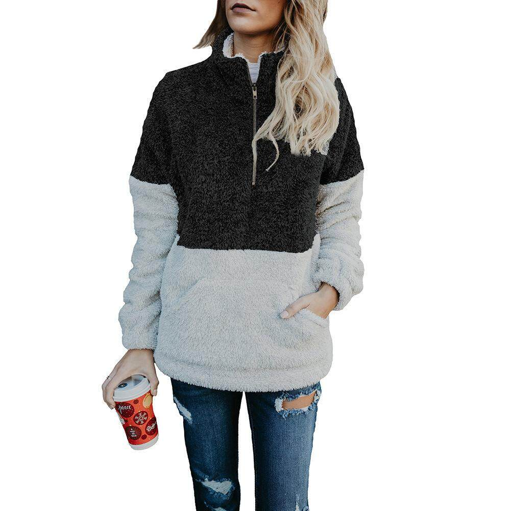 Hình ảnh thu nhỏ Big Sale Women Warm Pullover Zipper High Collar Fleeced Autumn Winter Outwear