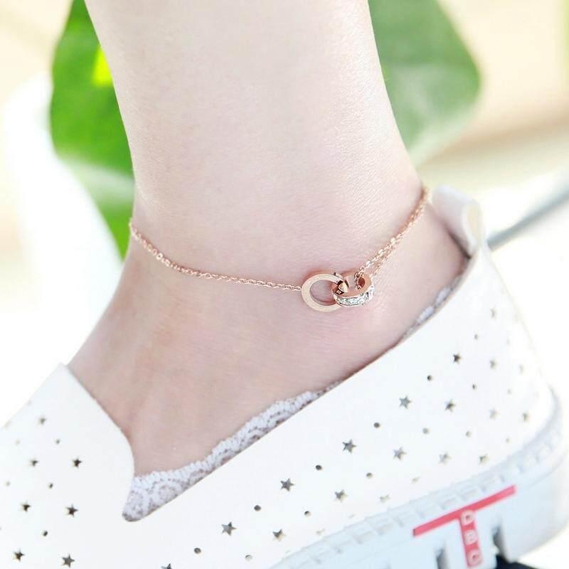 【Bicyclic zircon anklet】18K rose gold titanium steel snake bone anklet female wild fashion