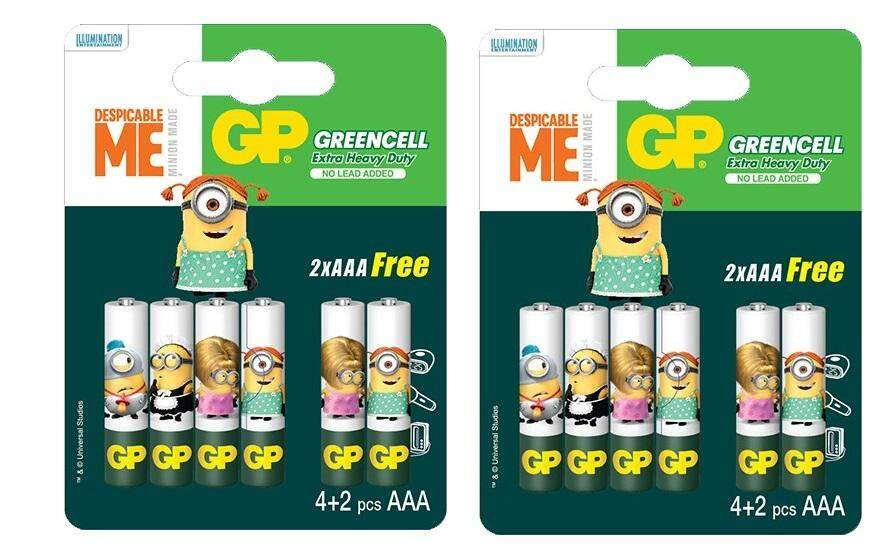 12PCS Genuine GP Minion Edition Greencell AAA Size Extra Heavy Duty Battery - GP24GMIN4/2-2AS6 Malaysia
