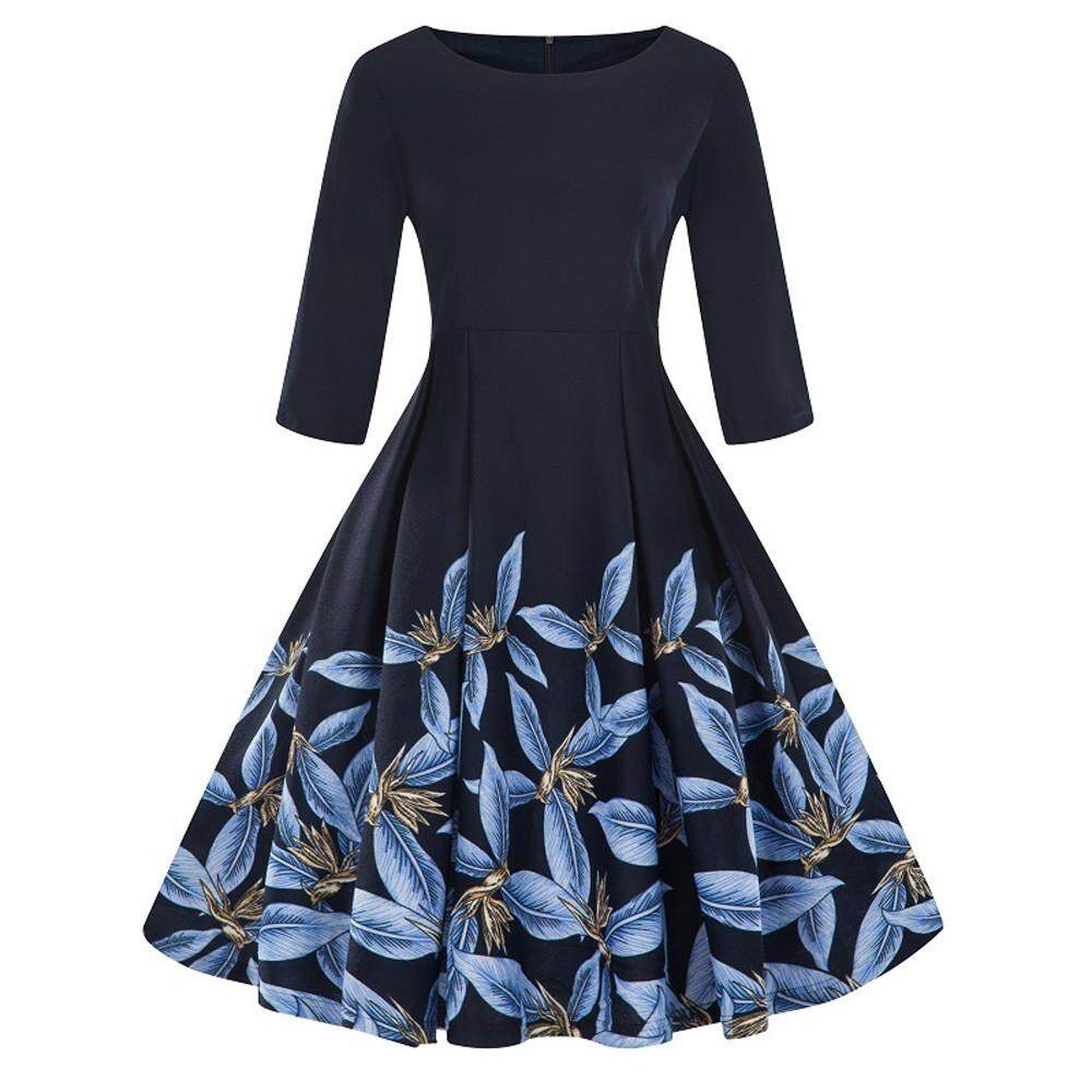 561957fd6c Sagestore Fashion Womens Plus Size 3/4 Sleeve Vintage Dress Floral Print  Retro Swing Dress