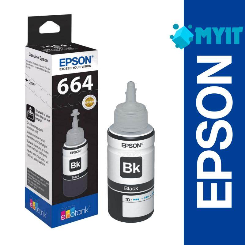 Epson Original T6641 Black Ink Bottle Refill 70ml for L100 L110 L120 L200 L210 L220 L300 L310 L350 L355 L360 L361 L365 L380 L385 L405 L455 L485 L550 L555 L565 L1300 T664