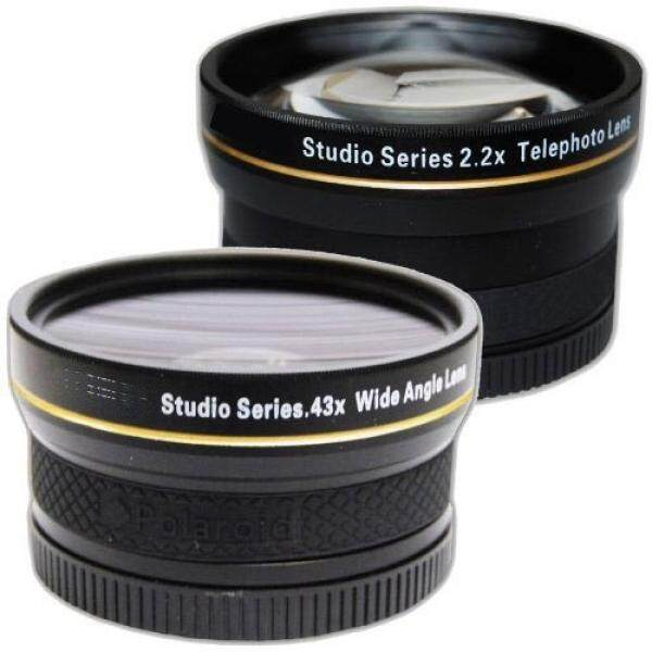 PLR Studio Series .43x High Definition Wide Angle Lens With Macro Attachment + PLR Studio Series 2.2X High Definition Telephoto Lens Travel Kit For The Nikon D5300, D5000, D3000, D3200, D5100, D5200, D3100, D7000, D7100, D4, D800, D800E, D600, D610,