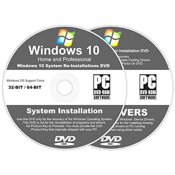 Windows 10-In-1 32 & 64 Bit Menginstal Ulang Menginstal Dvd Disk Rumah dan Profesional-2018 Universal sopir Menginstal Disc-Tidak Ada Internet Diperlukan-2 Disc Peralatan Instalasi-Intl