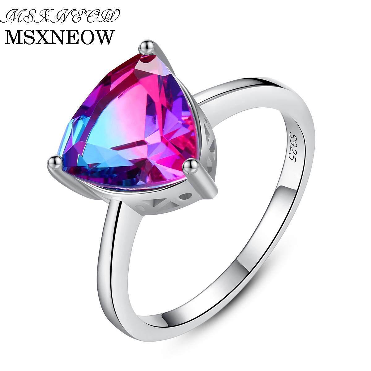 66decc65b9a57 MSXNEOW Adjustable wedding Ring Oval 100% Natural Gemstone Topaz 925  Sterling Silver Jewelry Fine Jewelry For Women SR0074
