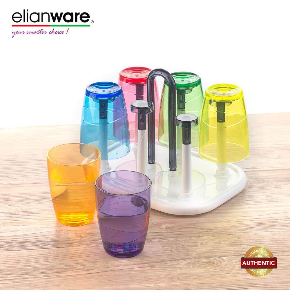 Eilanware 330ml x 6 Pcs Colourful Drinking Cup Set with Rectangular Tray Holder