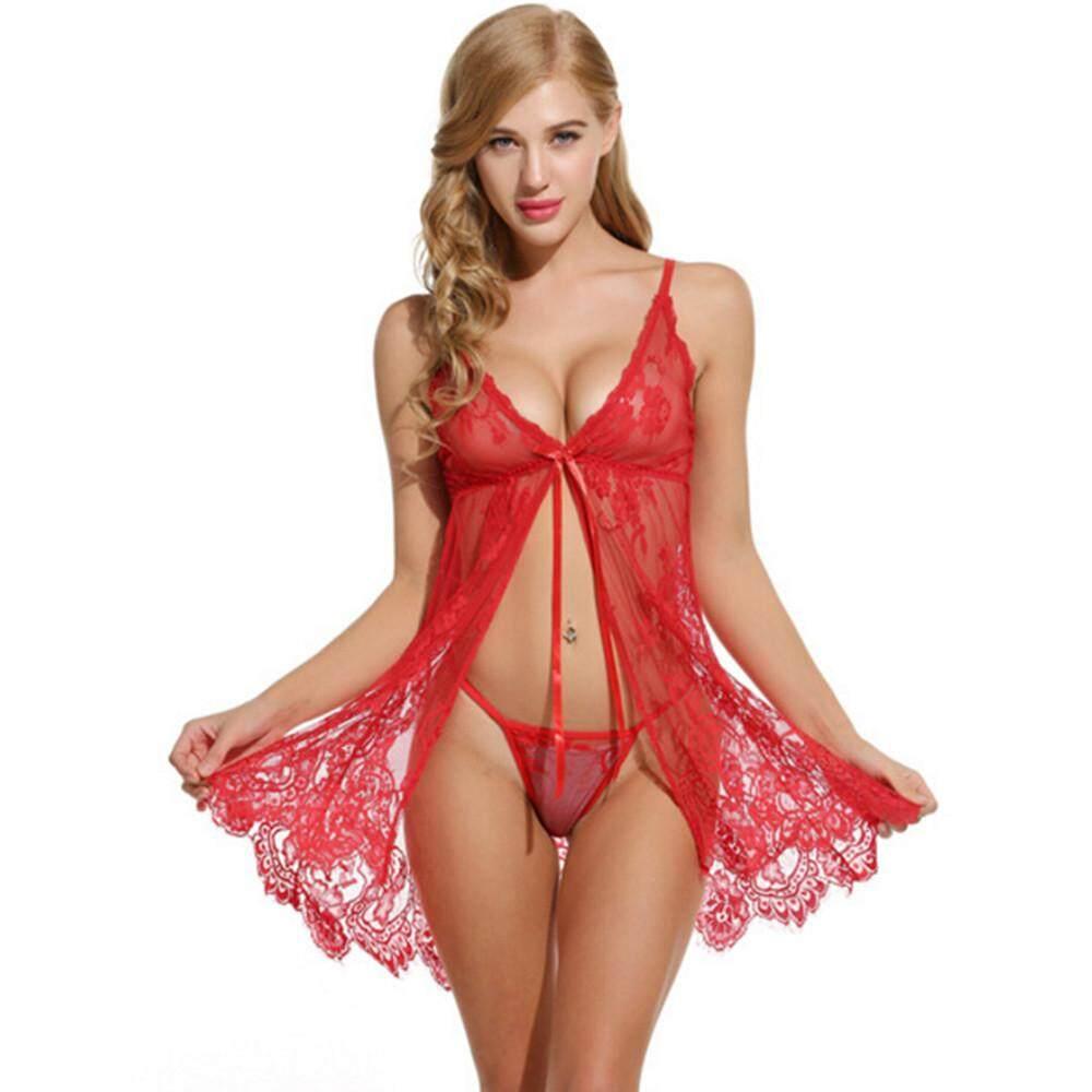 d277dc7294e32 sophiadeals Women Lingerie Flower Lace Underwear Babydoll V Neck Sleepwear  Strap Chemise