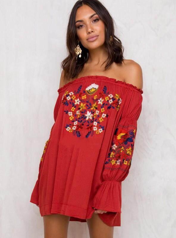 Yohanne Women Floral Embroidered Off Shoulder Long Sleeve Short Dresses - intl