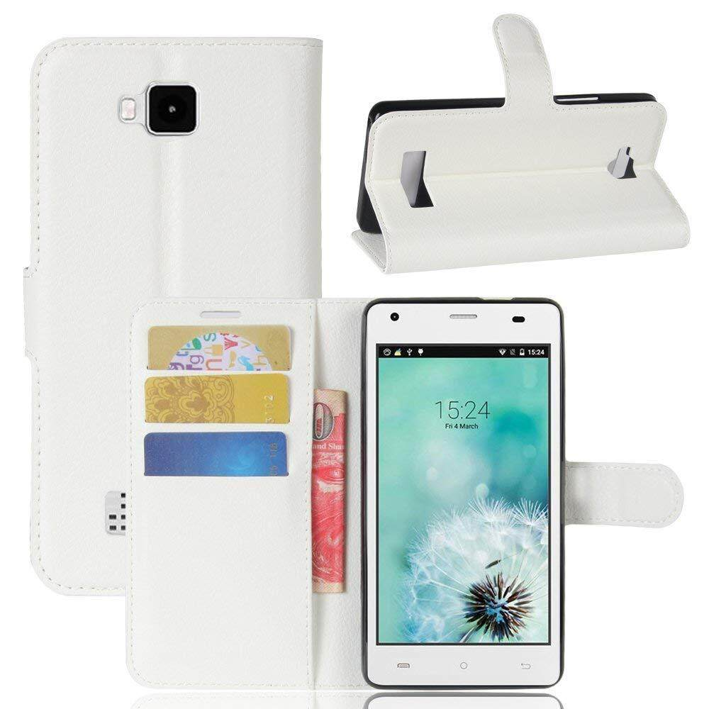 Flip Cover untuk Cubot Echo 5.0 Pu Penyangga Kulit Tempat Dompet dengan Slot Kartu (Putih)