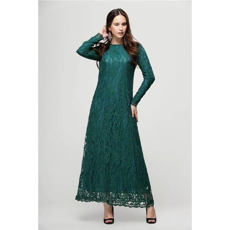 Summer Muslim Dress Vintage Ladies Arabic Islamic Wear Clothing Lace Long  Sleeve Dress Kaftan Abaya Islamic d5d2c0f534d8