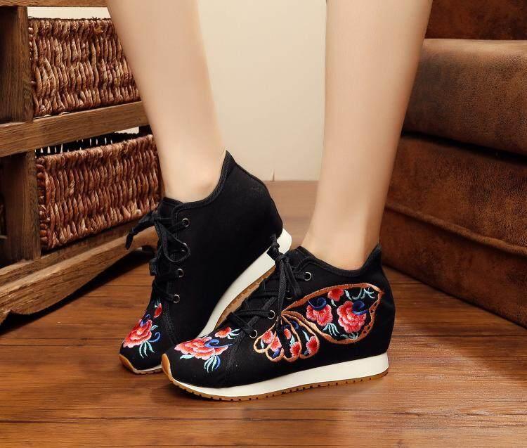 Gaya Retro Baru Sepatu Bordir Sepatu Kain (Kupu-Kupu Bersayap Hitam)