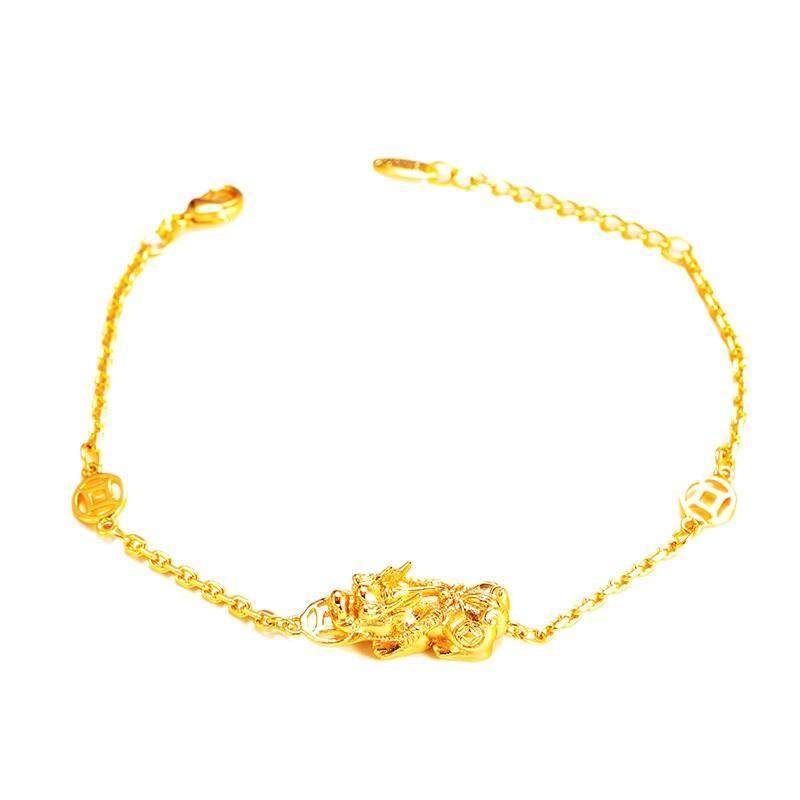 Retro 18 K Gold Pixiu Kekayaan Keberuntungan Wanita Gelang Perhiasan Pernikahan