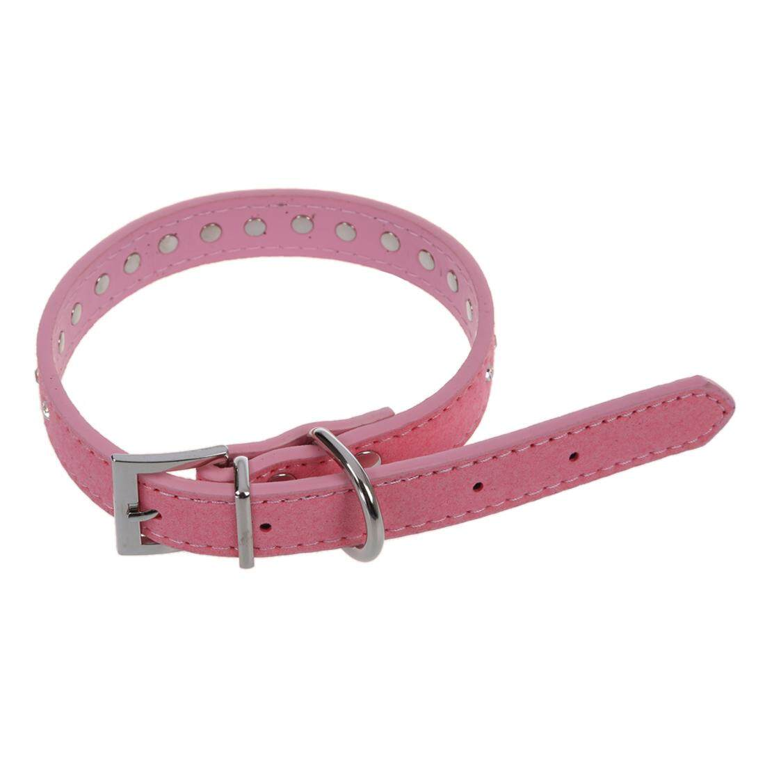 Pink PU Dog Pet Pitbull Rhinestone Stud Rivets Neck Collar Strap M