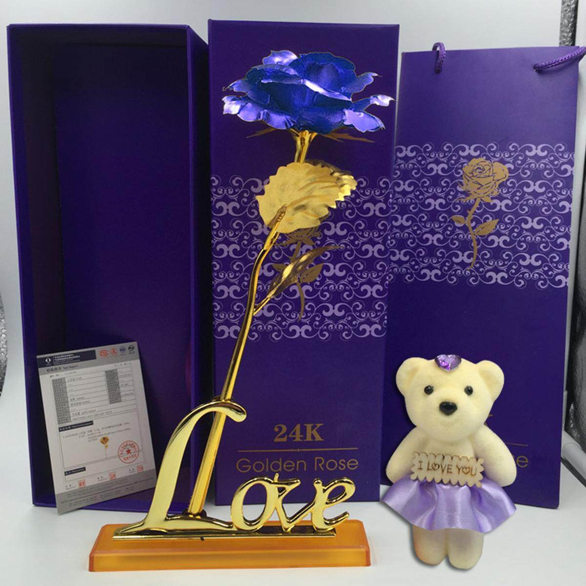 Xo 24k Gold Plated Rose Flower Valentines Day Birthday Gifts + Cute Teddy Bear [with Base] By Moonbeam.