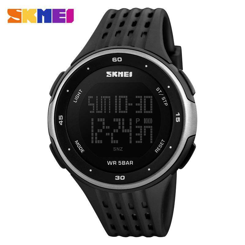 [100% Original] SKMEI Sport Watch Digital Watches Fashion LED Date Alarm Doubletime Waterproof Wristwatches for Men and Women (1219 Model)