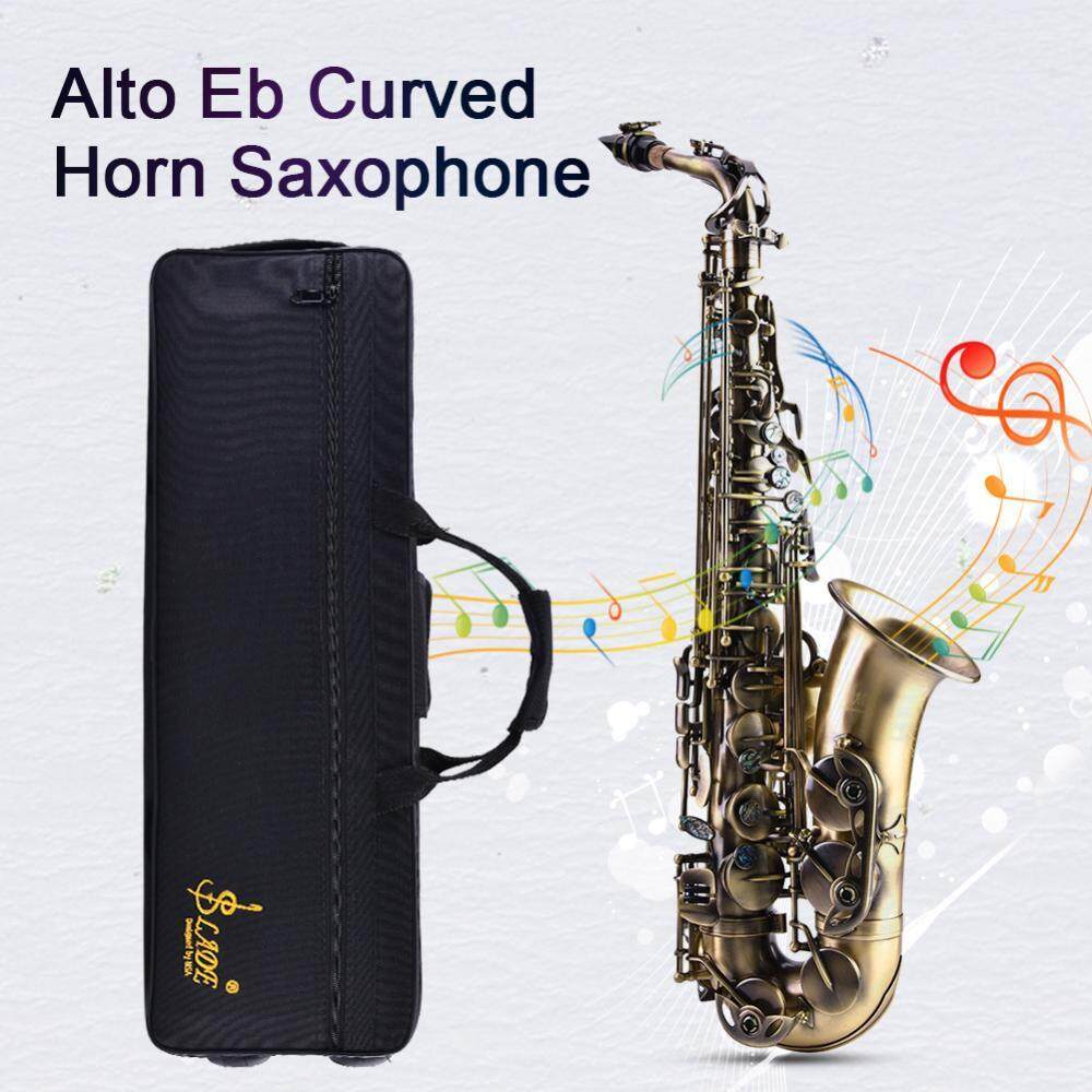 ... Retro Style Bronze Alto Eb Saxophone Curved Horn Sax Instrument with Bag Strap Kit - 4 ...