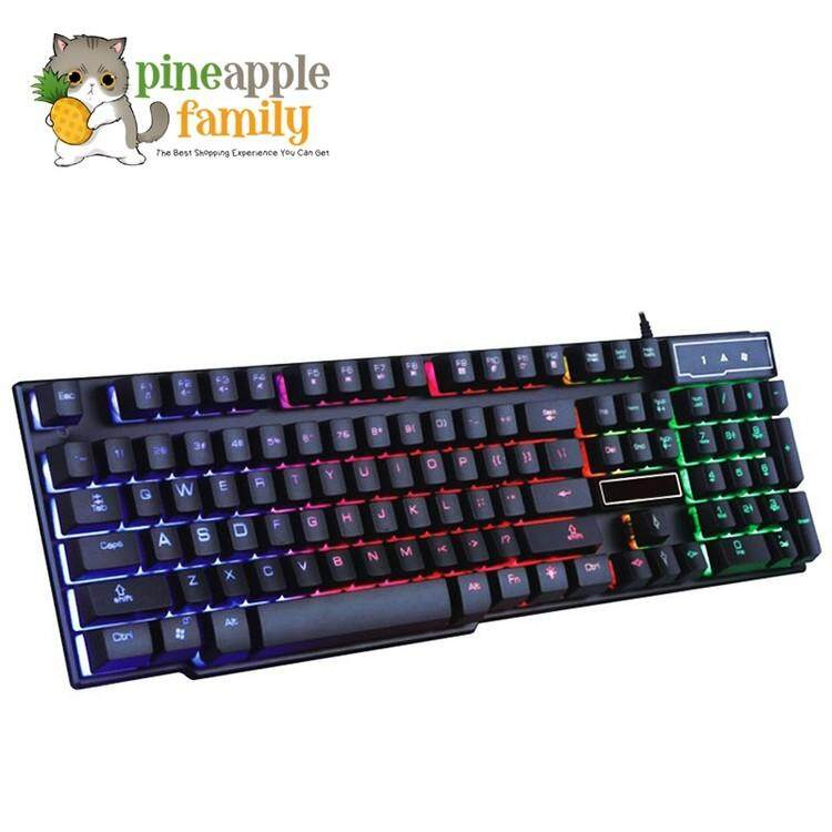 Rainbow Color LED Backlight USB Wired Gaming Keyboard Light Malaysia