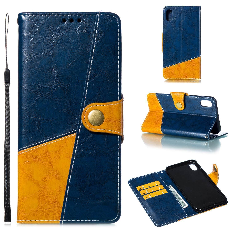 Untuk iPhone X Max 6.5 Inch Setik Tabrak Warna Kulit Pelindung Casing Ponsel dengan Tombol & Posisi Kartu & Bracket Spesifikasi: iPhone X Max 6.5