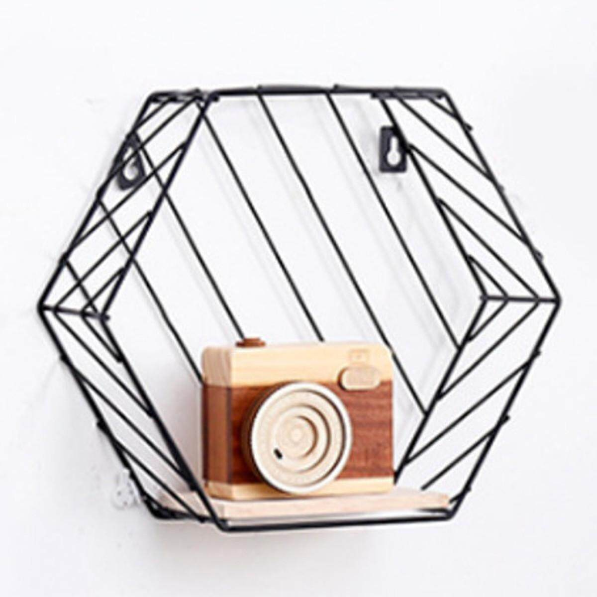 Hexagon Metal Wall Hanging Shelf Rack Storage Rack Holder Organizer Twill Design