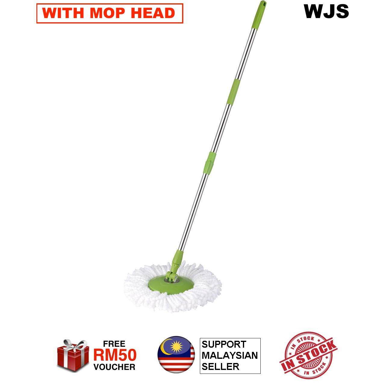 (WITH MOP CLOTH) Stainless Steel EASY MOP Spin Thicker Mop Handle with MicroFibre Mop Cloth Green
