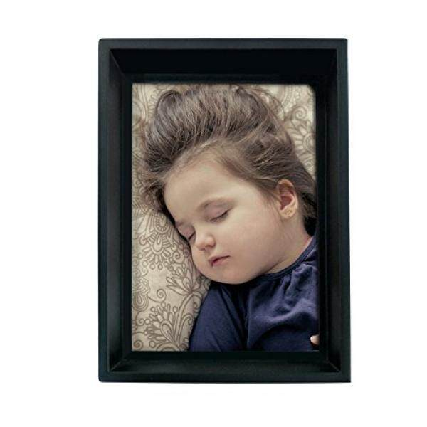 69fb5c105e0 Adeco 5x7 Black Wood Thick Picture Frame - Wall hanging or Table Top  Desktop Display -