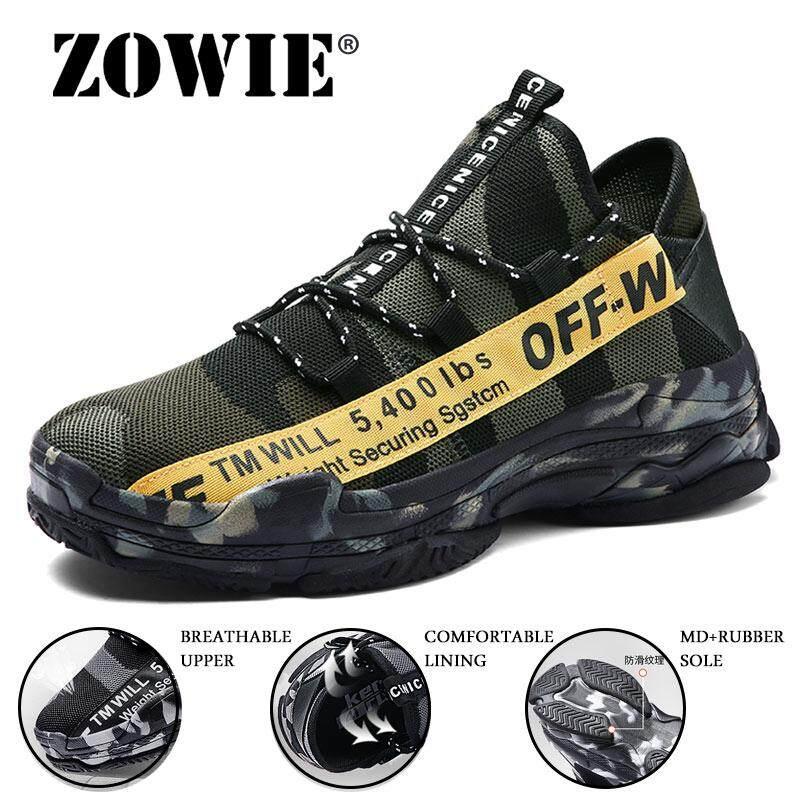 Zowie Ukuran Plus 39-46 Pria Sneakers Fashion Terbang Menenun Bernapas Sneaker Kamuflase Rekreasi Sepatu