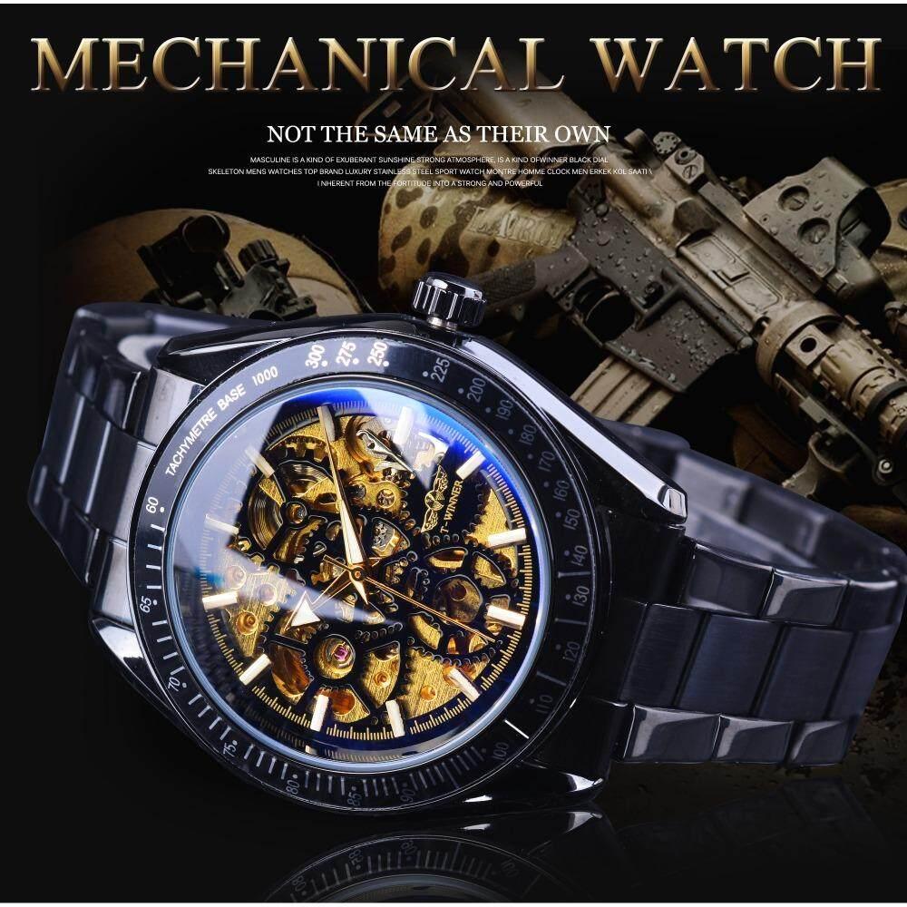 Detail Gambar Pemenang Pria Jam Tangan Mekanis dengan Automatic Wind Emas Hitam Jam Tengkorak Gelang untuk