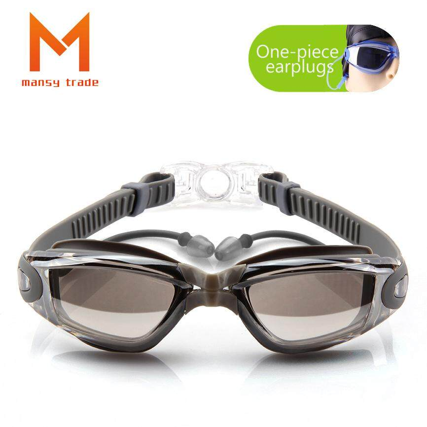 Jual Panas-Modis Pelapisan Datar Kacamata Myopia Renang Kacamata Olahraga Kotak Besar HD Anti-Air Anti-kabut Kacamata Olahraga Satu kepingan Telinga Steker (Cocok untuk Miopia 300 °) -Internasional