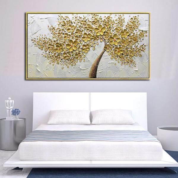 ... Tangan Pianted Lukisan Minyak Pada Kanvas Latar Putih Emas Bunga Pohon Lukisan Dekorasi Dinding Rumah Tanpa ...