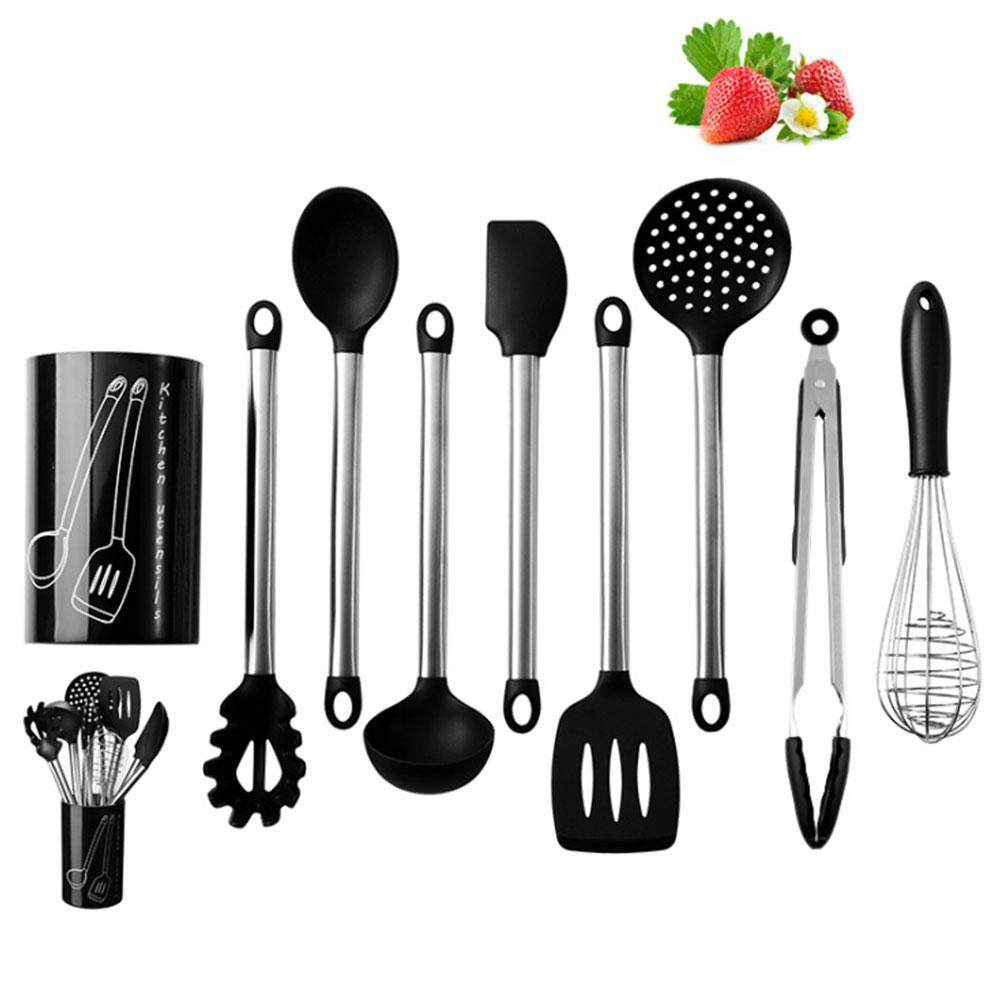Niceeshop Silicone Kitchen Utensils, 8 Pieces Cooking Utensils Set, Nonstick Non-Scratch Stainless Steel Cooking Tools – Serving Tongs, Spoon, Flex Spatula , Pasta Server, Ladle, Strainer, Whisk, Spatula Tools By Nicee Shop.
