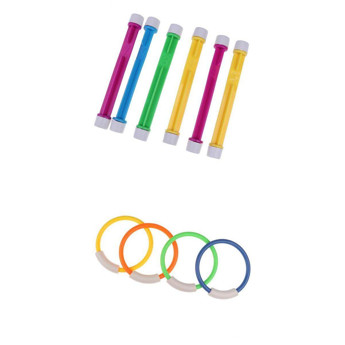 MagiDeal 6 Swim Swimming Pool Accessories Kids Play Diving Game Underwater Dive Sticks + 4 Diving Rings Children Swimming Teaching Aids Birthday Chrismas Gifts