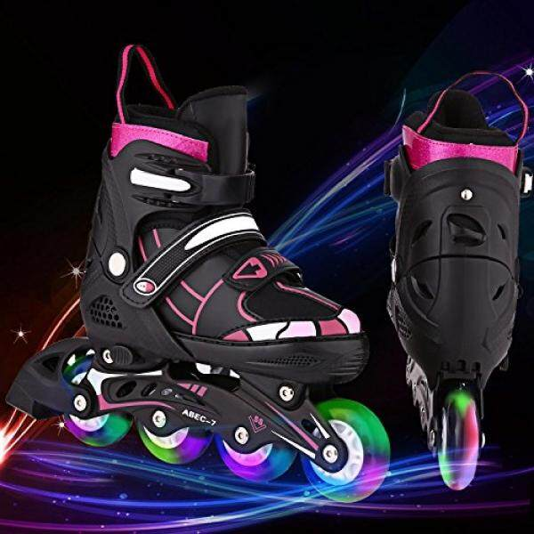 ANCHEER Black Inline Skates Adjustable For Women Kids LED Wheels Inline  Roller Skates Boys Girls J ... 147a041357