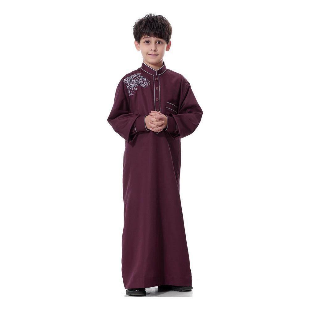 Goodgreat Lengan Panjang Tiruan Leher Bordir Timur Tengah Muslim Arab Anak-anak Gamis-Intl