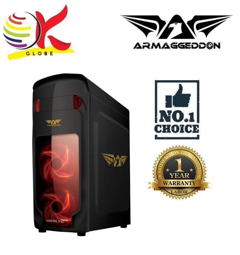 ARMAGGEDDON VESTA V2FX GAMING PC COATED CHASSIS BLACK WITHOUT PSU SEE THRU TRANSPARENT SIDE PANEL Malaysia