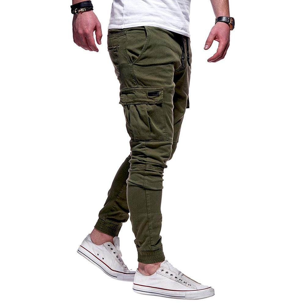 11e041628f5c RD Men Solid Color Casual Slacks Fashion Soft Cotton Cargo Sports Jogging  Pants