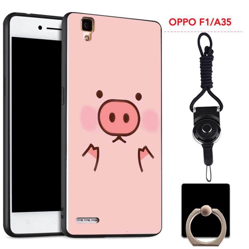 Untuk OPPO A35 Silica Gel Casing Lembut Ponsel dengan Cincin dan Tali