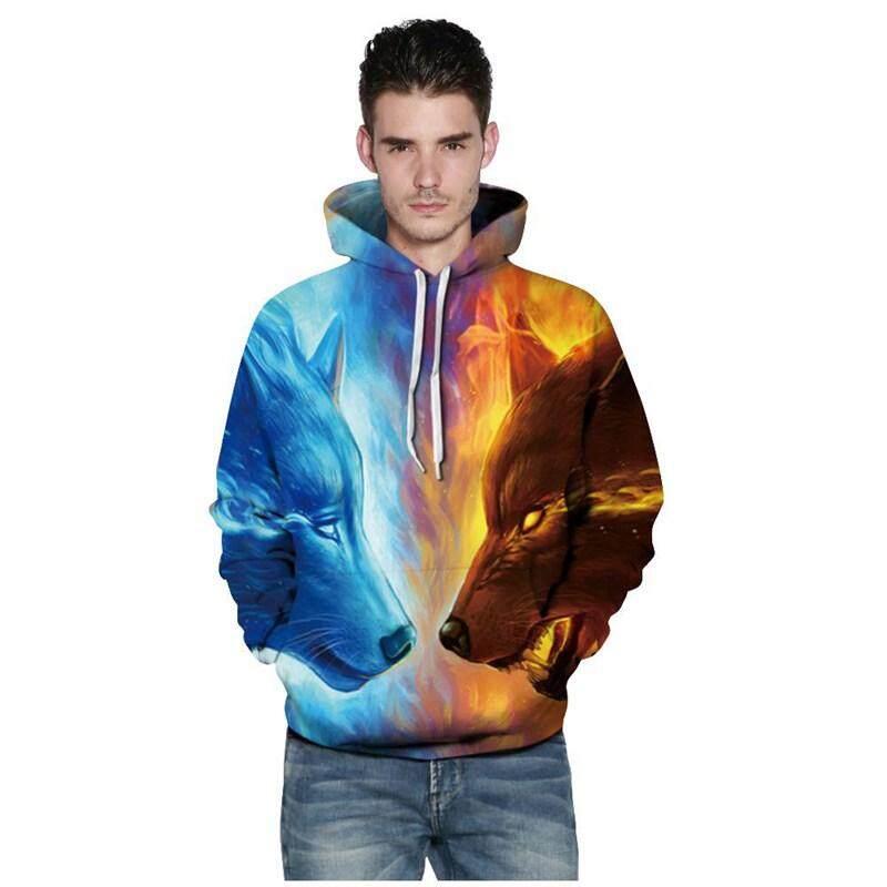Pria/Wanita Mode Terkini Api Es Jaket Tudung Serigala 3D Kaos Cetak Pullover Musim Semi Pakaian Lari Musim Semi Santai Hewan Jaket Harajuku Pakaian Luar (Banyak Warna, s-M/US-6 ~ 8/UK-10 ~ 12)-Intl