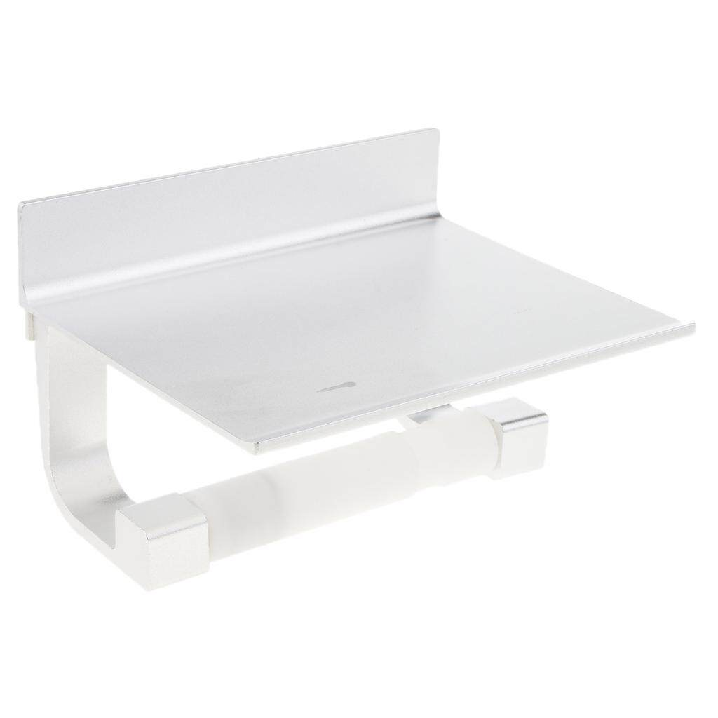 BolehDeals Bathroom Toilet Paper Holder with Shelf Rack Tissue Roller Phone Storage Silver