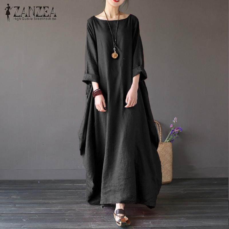 0b26651c58 ZANZEA Womens Crewneck 3/4 Batwing Sleeve Baggy Maxi Long Shirt Dress Casual  Party Kaftan
