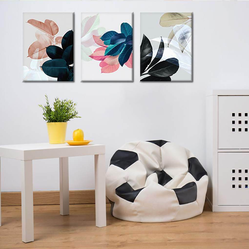 3Pcs/set Color Leaf Canvas HD Printed Oil Paintings Hot Air Balloon Bear Posters Pictures Not Framed