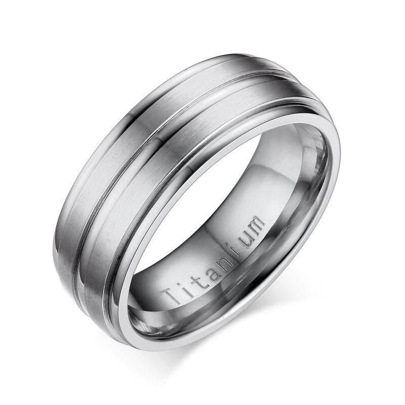 Vnox Titanium Karbida Pria 'S Cincin Pernikahan Cincin 8 Mm USA Ukuran Terukir