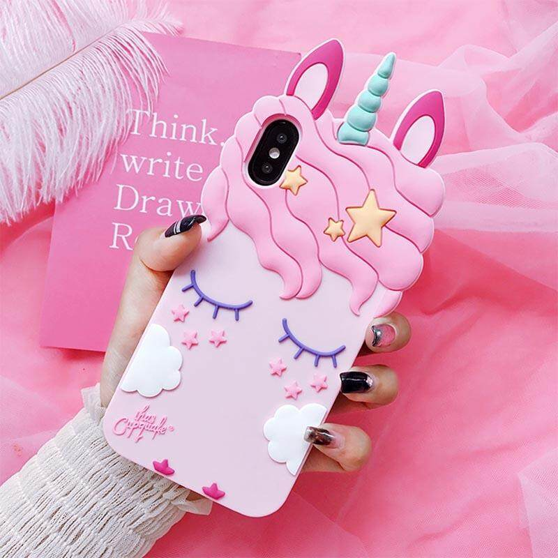 3D Fashion Cartoon Pink Unicorn Soft Silicone Case For iPhone 5 5S SE 6 7 8 Plus X For Samsung Galaxy S6 S7 Edge S8 PIus J3 J5 J7 2016 2017 Grand Prime (Pink)(iPhone 6S) - intl