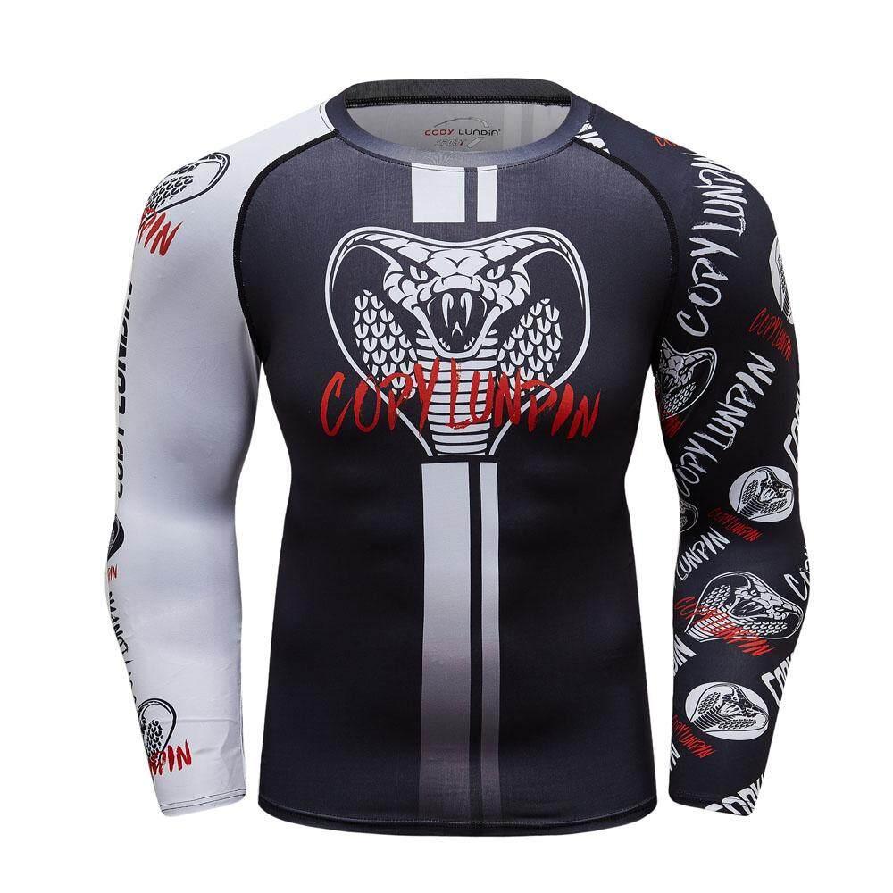CT285 Viper Hitam Putih Pria Kaus Ketat Lengan Panjang untuk Olahraga Fashion-Intl