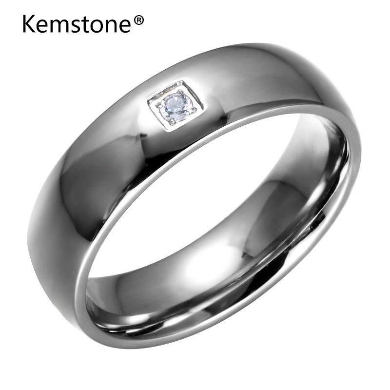 Kemstone Gold/Perak Tinggi Dipoles Stainless Steel Sederhana Bera Cincin dengan Cubic Zirconia Perhiasan untuk