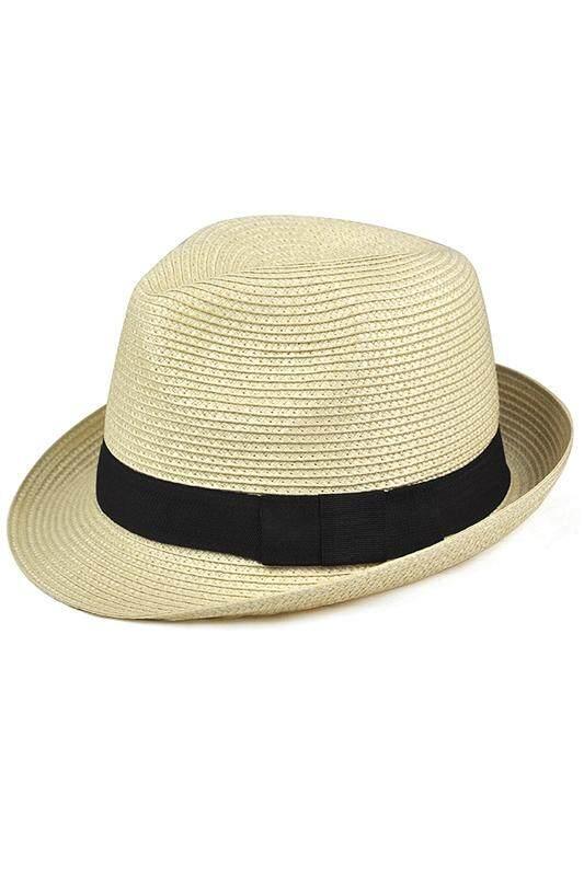 Topi Anyaman Fedora-Panama Trilby Gaya Packable Crusher Matahari Musim Panas Pria Wanita-Beige