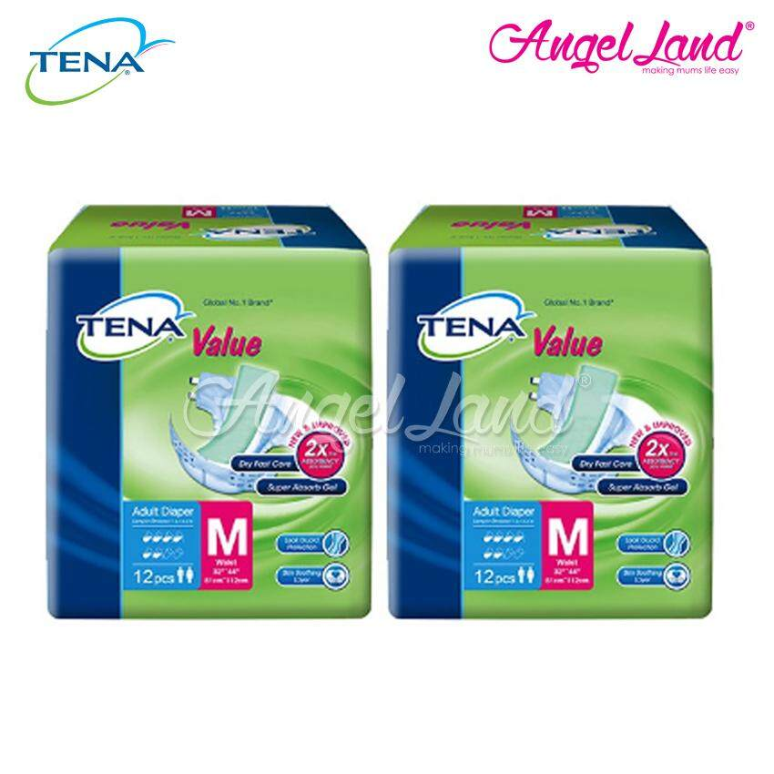 Tena Value Adult Diaper M 12pcs (2 Packs)