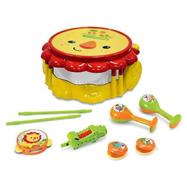 Fisher Price Music - Drum Set - Musical Band Drum Set - Lion - Comes with Drum, Sticks, Recorder, Tambourine, Whistle, Castanets, and Maracas - Great for Kids Play & Early Learning / From USA